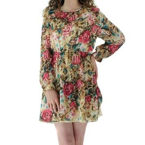 NWT BOUTIQUE FLORAL PULL OVER LONG SLEEVE DRESS